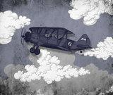 Stoer vliegtuig kinderbehang blauw grijs , kinderkamer