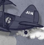 Vliegtuig kinderbehang detail, met eigen naam