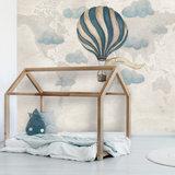 Behang wolken luchtbalon vintage kinderkamer