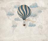 Behang wolken luchtballon kinderbehang