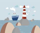 behang kinderkamer boot, zee, vuurtoren