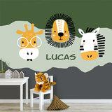 Jungle behang kinderkamer met giraf zebra en leeuw