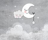 behang babykamer maan en sterren grijs