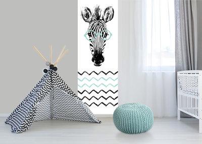 Babykamer mint zebra behang
