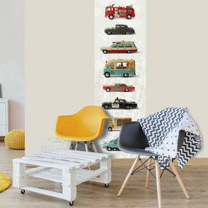 Behang auto's kinderkamer retro vintage