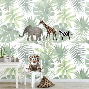 Jungle dieren behang kinderkamer babykamer