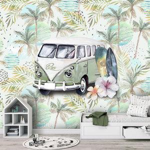 Behang strand surf beach retro volkswagen groen