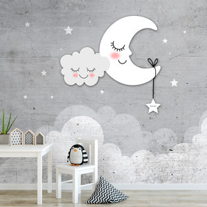 Behang maan sterren wolken grijs